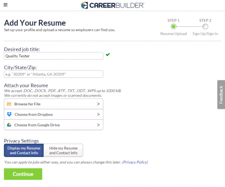 """CareerBuilder.com screenshot of """"Add Your Resume"""" page showing fields showing """"Desired Job Title"""", """"City/State/Zip"""", """"Attach Your Resume"""", """"Privacy Settings"""", and """"Continue"""""""