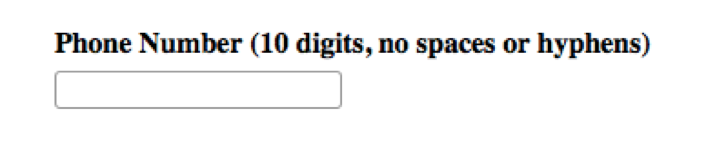 """Screenshot displaying a form field for """"Phone Number (10 digits, no spaces or hyphens)"""
