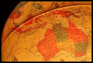 Vintage-style globe showing Australia