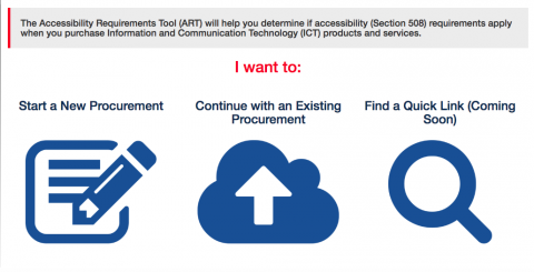 A screenshot of the ART Tool. Options include Start a New Procurement, Continue Existing Procurement, and Quick Links