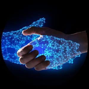 human hand handshake with virtual hand