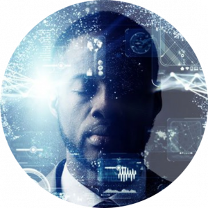 man with digital icons overlay
