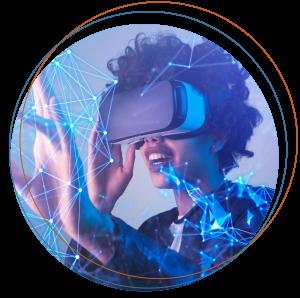 Woman with VR headeset