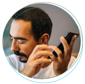 man using audio feature on phone