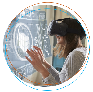 woman interacting in a VR environment